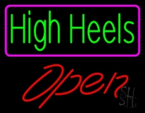High Heels Open With Pink Border LED Neon Sign