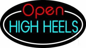 High Heels Open With White Border LED Neon Sign