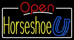 Horseshoe Open White Border LED Neon Sign