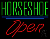 Horseshoe Open With Blue Line LED Neon Sign
