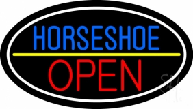 Horseshoe Open With Border LED Neon Sign