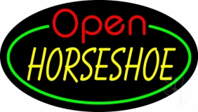 Horseshoe Open With Green Border LED Neon Sign