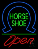 Horseshoe Open With Green Line LED Neon Sign