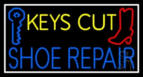 Keys Cut Shoe Repair With White Border LED Neon Sign