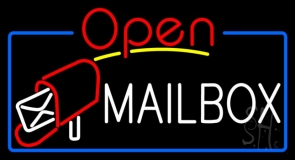 Mailbox Red Logo With Open 4 LED Neon Sign