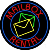 Mail Box Rental Blue Circle LED Neon Sign