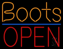 Orange Boots Open LED Neon Sign