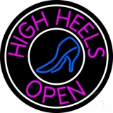 Pink High Heels Open With White Border LED Neon Sign