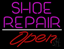 Pink Shoe Repair Open With Line LED Neon Sign