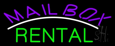 Purple Mailbox Green Rental Block 1 LED Neon Sign