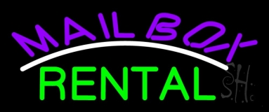 Purple Mailbox Green Rental Block 2 LED Neon Sign