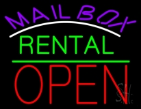 Purple Mailbox Turquoise Rental With Open 1 LED Neon Sign