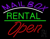Purple Mailbox Turquoise Rental With Open 2 LED Neon Sign