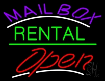 Purple Mailbox Green Rental With Open LED Neon Sign