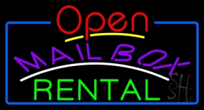 Purple Mailbox Green Rental Open With Border LED Neon Sign
