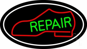 Red Boot Green Repair With Border LED Neon Sign