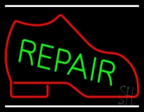 Red Boot Green Repair With Line LED Neon Sign