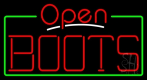 Red Boots Open With Border LED Neon Sign