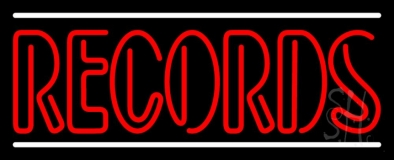 Red Colored Records White Line LED Neon Sign