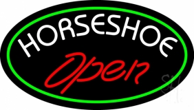 Red Horseshoe Open LED Neon Sign