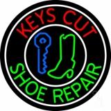 Red Keys Cut Green Shoe Repair LED Neon Sign