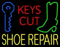 Red Keys Cut Yellow Shoe Repair LED Neon Sign