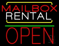 Red Mailbox Blue Rental Open 1 LED Neon Sign