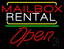 Red Mailbox Blue Rental Open 2 LED Neon Sign