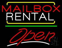 Red Mailbox Blue Rental Open 3 LED Neon Sign