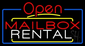 Red Mailbox Blue Rental Open 4 LED Neon Sign