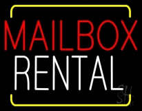 Red Mailbox Blue Rental With Yellow Border LED Neon Sign