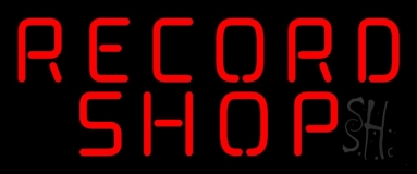 Red Record Shop Block 1 LED Neon Sign