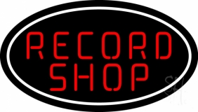 Red Record Shop Block 2 LED Neon Sign