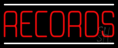 Red Records White Line LED Neon Sign