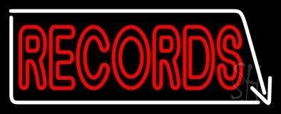 Red Records With White Arrow 2 LED Neon Sign