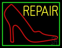 Red Sandal Logo Repair With Border LED Neon Sign