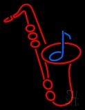 Red Saxophone Logo 1 LED Neon Sign