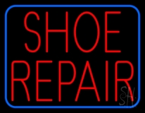 Red Shoe Repair Blue Border LED Neon Sign