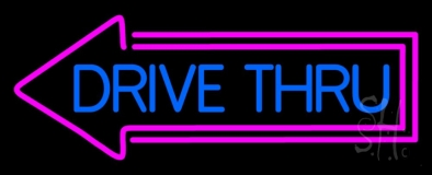 Blue Drive Thru With Pink Arrow LED Neon Sign