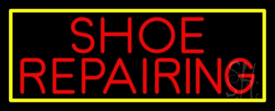 Red Shoe Repairing With Border LED Neon Sign