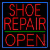 Red Shoe Repair Open LED Neon Sign