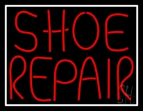 Red Shoe Repair With Border LED Neon Sign