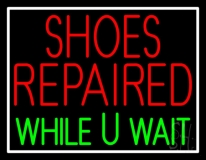 Red Shoes Repaired Green While You Wait LED Neon Sign
