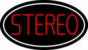 Red Stereo Block White Border 1 LED Neon Sign