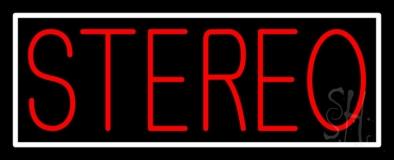 Red Stereo Block White Border LED Neon Sign