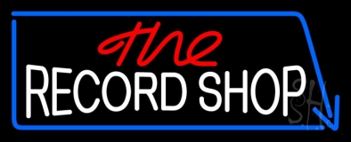 Red The White Record Shop Blue Arrow LED Neon Sign
