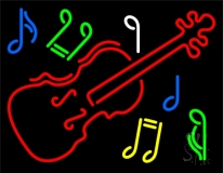 Violin Logo Block LED Neon Sign