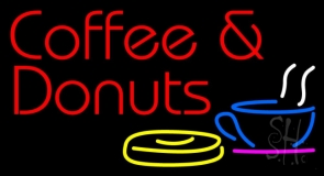 Coffee And Donuts With Coffee Glass LED Neon Sign
