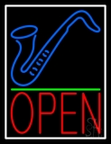 Saxophone Open Green Line 2 LED Neon Sign