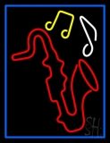 Saxophone With Musical Notes Blue Border LED Neon Sign